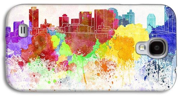 Nashville Skyline In Watercolor Background Galaxy S4 Case by Pablo Romero