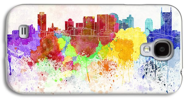Nashville Paintings Galaxy S4 Cases - Nashville skyline in watercolor background Galaxy S4 Case by Pablo Romero