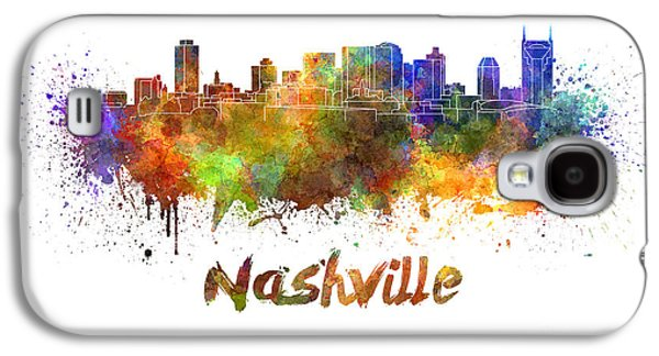 Nashville Tennessee Paintings Galaxy S4 Cases - Nashville skyline in watercolor Galaxy S4 Case by Pablo Romero