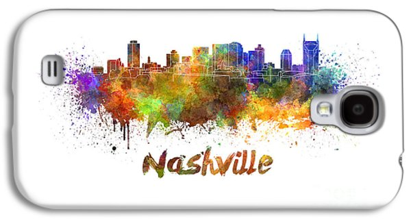 Nashville Paintings Galaxy S4 Cases - Nashville skyline in watercolor Galaxy S4 Case by Pablo Romero