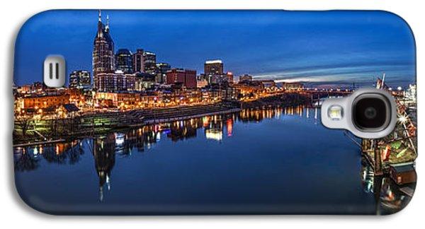 Tennessee Landmark Galaxy S4 Cases - Nashville Skyline Panorama at Night Galaxy S4 Case by Brett Engle