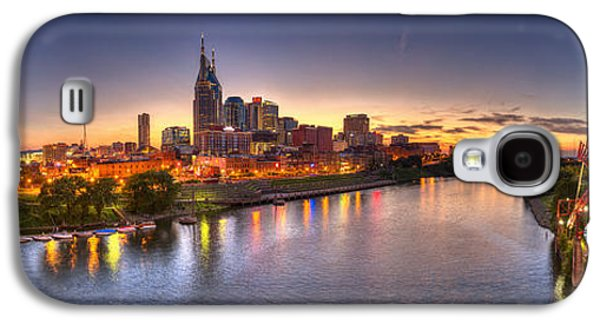 Water Scene Galaxy S4 Cases - Nashville Skyline Panorama Galaxy S4 Case by Brett Engle