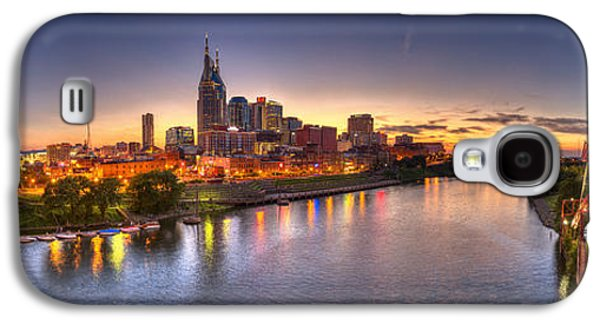 Sports Photographs Galaxy S4 Cases - Nashville Skyline Panorama Galaxy S4 Case by Brett Engle