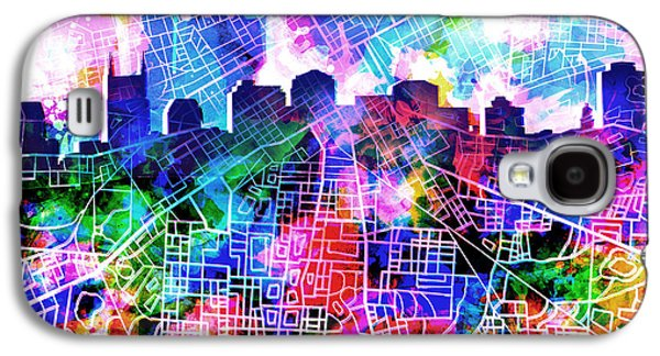 Abstract Digital Digital Galaxy S4 Cases - Nashville Skyline Watercolor 5 Galaxy S4 Case by MB Art factory