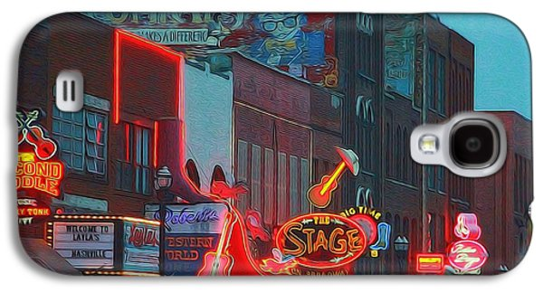 Nashville Tennessee Galaxy S4 Cases - Nashville Strip Lit Up Galaxy S4 Case by Dan Sproul