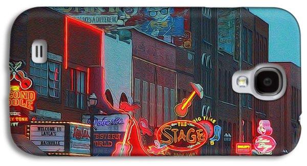 Nashville Strip Lit Up Galaxy S4 Case by Dan Sproul