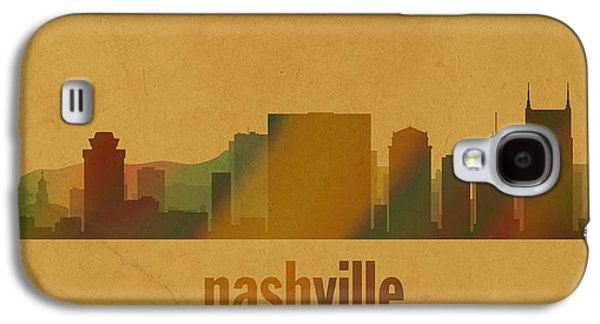 Nashville Galaxy S4 Cases - Nashville Tennessee Skyline Watercolor On Parchment Galaxy S4 Case by Design Turnpike