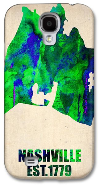 Nashville Galaxy S4 Cases - Nashville Watercolor Map Galaxy S4 Case by Naxart Studio