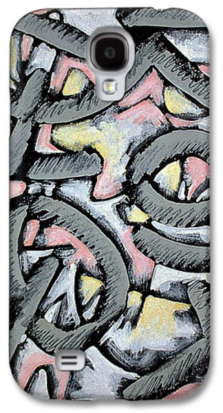Linocut Paintings Galaxy S4 Cases - Nassau Message in the Sand  Galaxy S4 Case by Philip Slagter