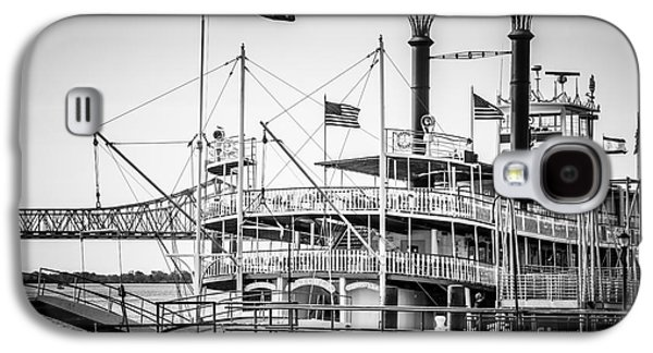 Louisiana Photographs Galaxy S4 Cases - Natchez Steamboat in New Orleans Black and White Picture Galaxy S4 Case by Paul Velgos