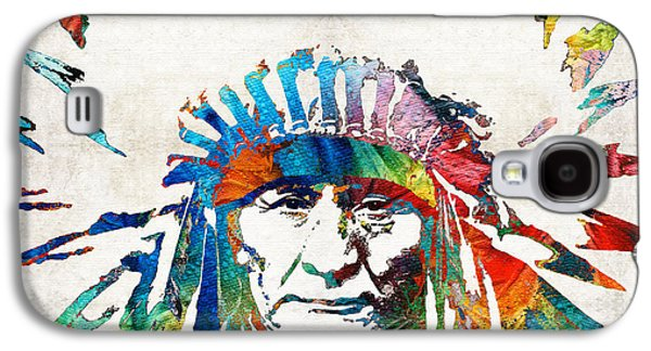 Dressed Galaxy S4 Cases - Native American Art - Chief - By Sharon Cummings Galaxy S4 Case by Sharon Cummings
