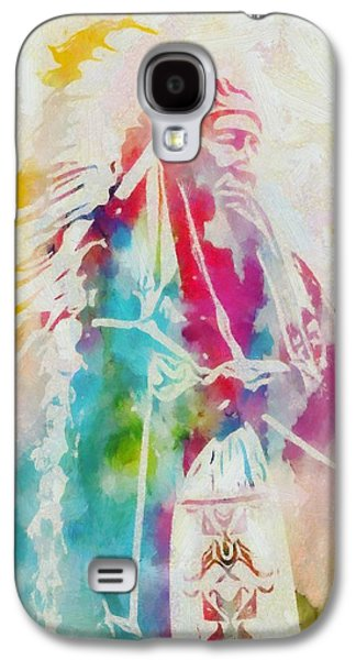 Tribe Paintings Galaxy S4 Cases - Native American Chief Watercolor Galaxy S4 Case by Dan Sproul