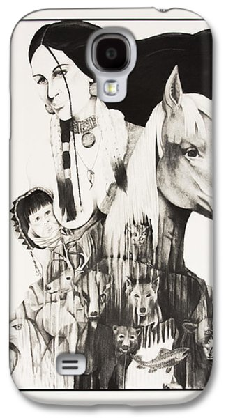 Bobcats Drawings Galaxy S4 Cases - Native American Mothers Life Journey Galaxy S4 Case by Joe Lisowski