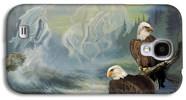 Landscape Greeting Cards Galaxy S4 Cases - Native American painting Spirit Riders Galaxy S4 Case by Gina Femrite