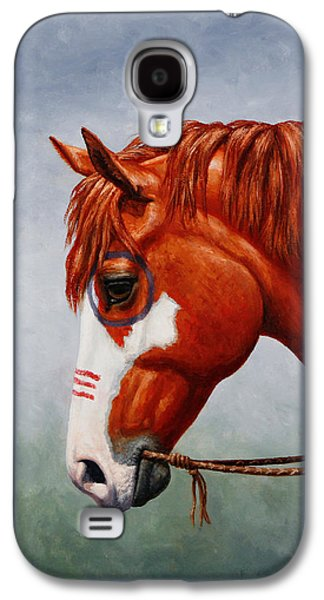 Wild Horse Paintings Galaxy S4 Cases - Native American War Horse Phone Case Galaxy S4 Case by Crista Forest