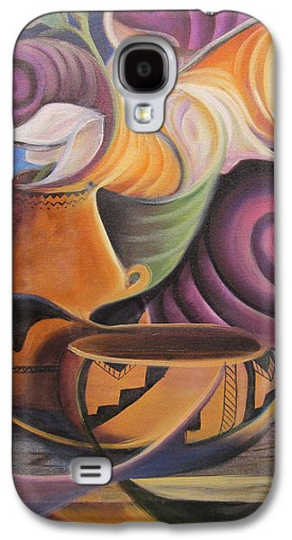 Burned Clay Galaxy S4 Cases - Native Pots and Flowers Galaxy S4 Case by Sherry Strong