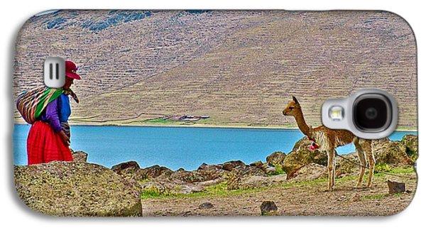 Llama Digital Galaxy S4 Cases - Native Woman and her Llama Near Sullistani on Lake Ayumara-Peru Galaxy S4 Case by Ruth Hager