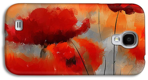 Red Abstract Paintings Galaxy S4 Cases - Natural Enigma Galaxy S4 Case by Lourry Legarde