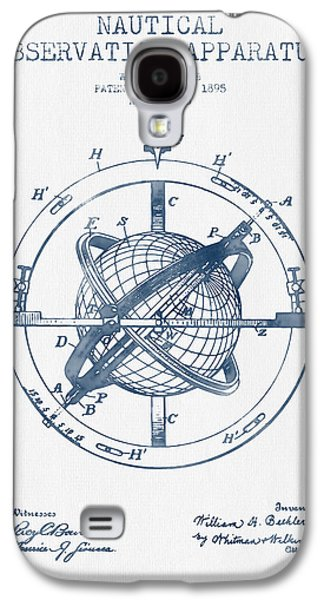 Compass Galaxy S4 Cases - Nautical Observation Apparatus Patent From 1895  -  Blue Ink Galaxy S4 Case by Aged Pixel