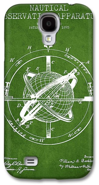 Compass Galaxy S4 Cases - Nautical Observation Apparatus Patent From 1895 - Green Galaxy S4 Case by Aged Pixel