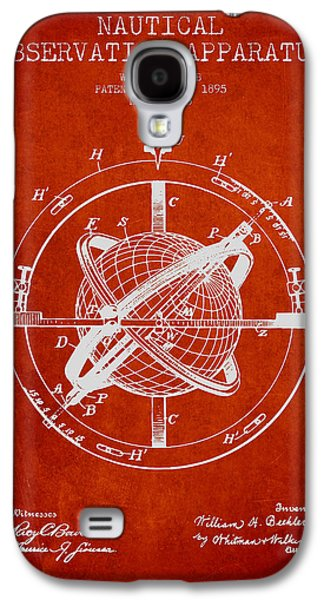 Compass Galaxy S4 Cases - Nautical Observation Apparatus Patent From 1895 - Red Galaxy S4 Case by Aged Pixel