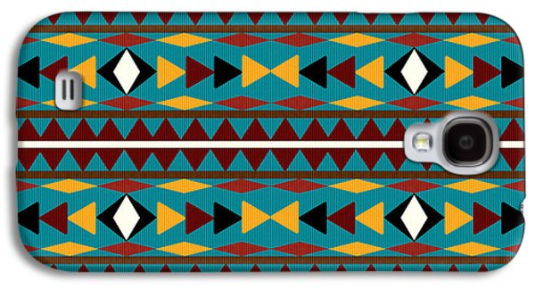 Patterned Mixed Media Galaxy S4 Cases - Navajo Teal Pattern Galaxy S4 Case by Christina Rollo