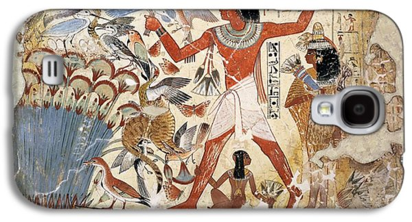 Papyrus Galaxy S4 Cases - Nebamun Hunting In The Marshes With His Wife And Daughter, Part Of A Wall Painting Galaxy S4 Case by Egyptian 18th Dynasty