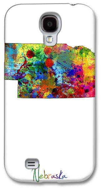 Nebraska. Galaxy S4 Cases - Nebraska Map Galaxy S4 Case by Michael Tompsett
