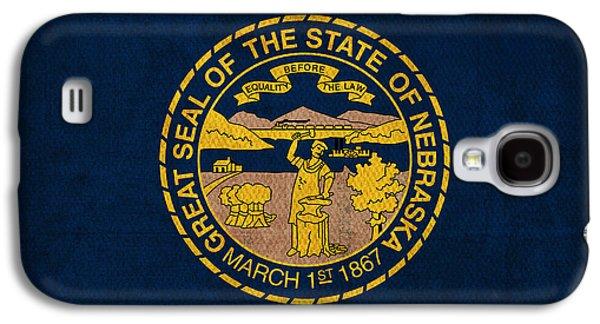 Nebraska. Galaxy S4 Cases - Nebraska State Flag Art on Worn Canvas Galaxy S4 Case by Design Turnpike