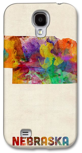 Cartography Digital Art Galaxy S4 Cases - Nebraska Watercolor Map Galaxy S4 Case by Michael Tompsett