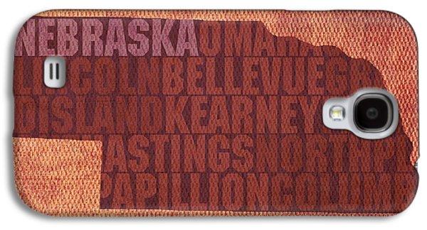 Nebraska. Galaxy S4 Cases - Nebraska Word Art State Map on Canvas Galaxy S4 Case by Design Turnpike