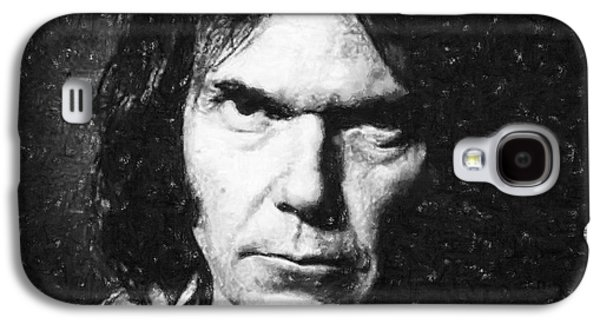 Person Pastels Galaxy S4 Cases - Neil Young Galaxy S4 Case by Antony McAulay