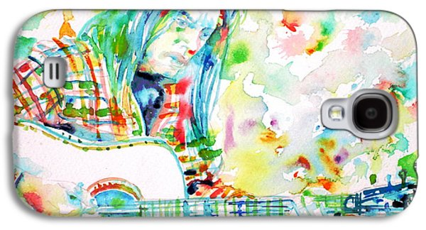 Neil Young Playing The Guitar - Watercolor Portrait.1 Galaxy S4 Case by Fabrizio Cassetta