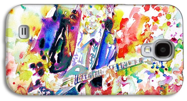 Neil Young Playing The Guitar - Watercolor Portrait.2 Galaxy S4 Case by Fabrizio Cassetta