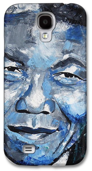Political Paintings Galaxy S4 Cases - Nelson Mandela Galaxy S4 Case by Richard Day