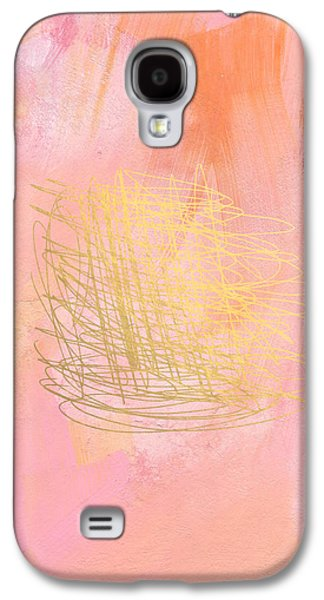 Sunset Abstract Galaxy S4 Cases - Nest- Pink and Gold Abstract Art Galaxy S4 Case by Linda Woods