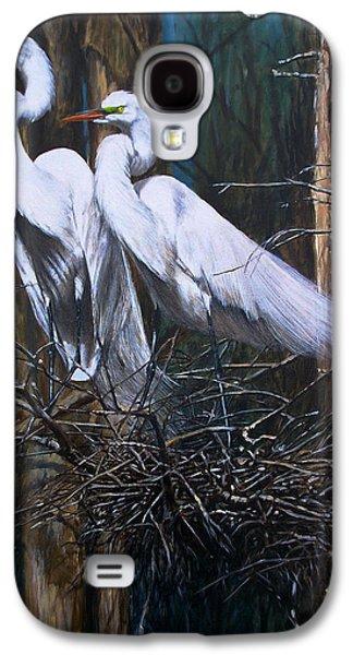 Snowy Galaxy S4 Cases - Nesting Snowy Egrets Galaxy S4 Case by Rob Dreyer AFC