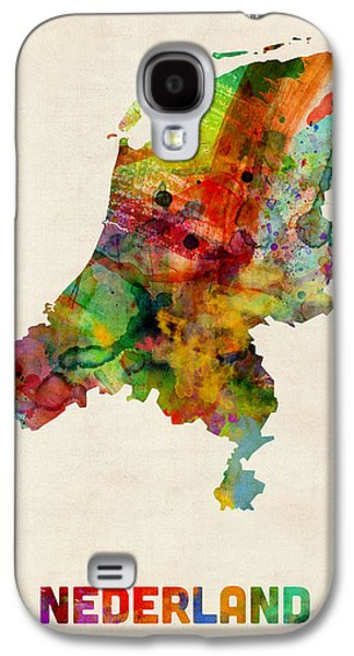 Maps Galaxy S4 Cases - Netherlands Watercolor Map Galaxy S4 Case by Michael Tompsett