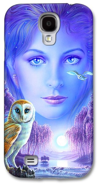 Flying Animal Galaxy S4 Cases - New Age Owl Girl Galaxy S4 Case by Andrew Farley