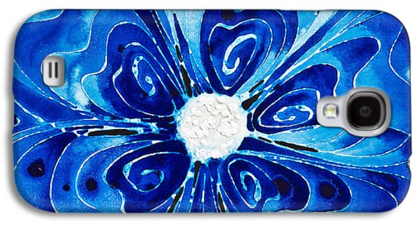 Blue Abstracts Galaxy S4 Cases - New Blue Glory Flower Art - buy Prints Galaxy S4 Case by Sharon Cummings