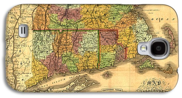 Old Map Digital Galaxy S4 Cases - New England Galaxy S4 Case by Gary Grayson