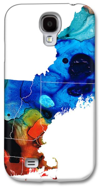 New England Galaxy S4 Cases - New England - Map by Sharon Cummings Galaxy S4 Case by Sharon Cummings
