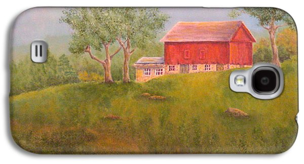 Old Barns Paintings Galaxy S4 Cases - New England Red Barn At Sunrise Galaxy S4 Case by Pamela Allegretto