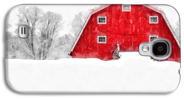 New England Red Barn In Winter Snow Storm Watercolor Galaxy S4 Case by Edward Fielding