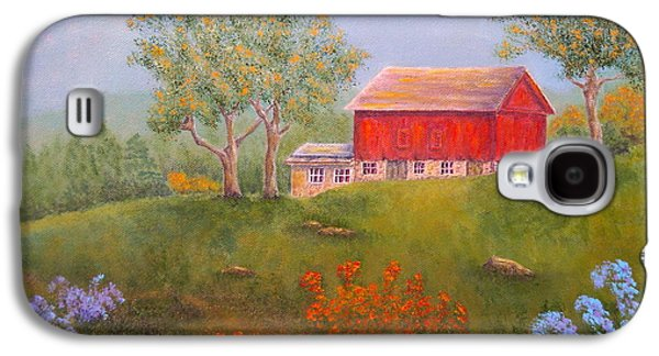 Fruit Tree Art Galaxy S4 Cases - New England Red Barn Summer Galaxy S4 Case by Pamela Allegretto