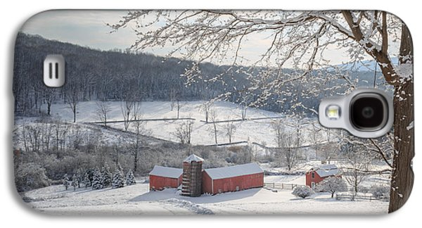 Red Barn In Winter Photographs Galaxy S4 Cases - New England Winter Farms Morning Square Galaxy S4 Case by Bill  Wakeley