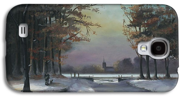 Kinkade Galaxy S4 Cases - New England Winter Walk Galaxy S4 Case by Cecilia  Brendel