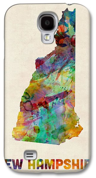 Geography Galaxy S4 Cases - New Hampshire Watercolor Map Galaxy S4 Case by Michael Tompsett