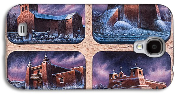 Taos Galaxy S4 Cases - New Mexico Churches in Snow Galaxy S4 Case by Ricardo Chavez-Mendez