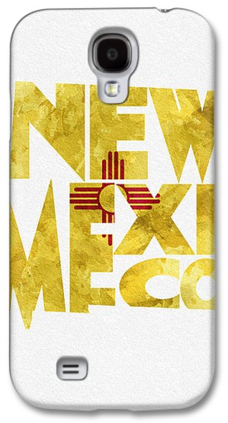 Abstracts Pyrography Galaxy S4 Cases - New Mexico Typographic Map Flag Galaxy S4 Case by Ayse Deniz